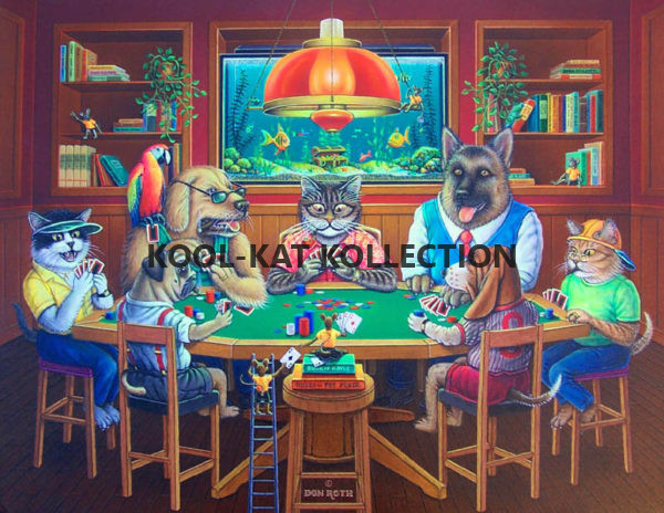 cats and dogs playing poker